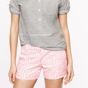 J. Crew Tiki Aztec Chino Shorts hot pink 10 EUC